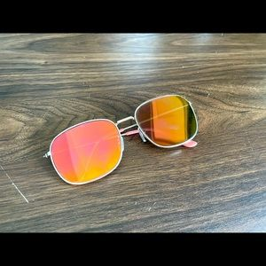 AE Pink-yellow reflective square sunglasses